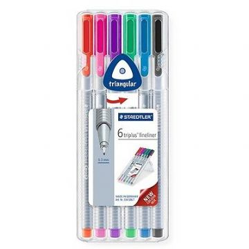 6 x STAEDTLER TRIPLUS FINELINER 334 ASSORTED COLOURS - DESKTOP BOX